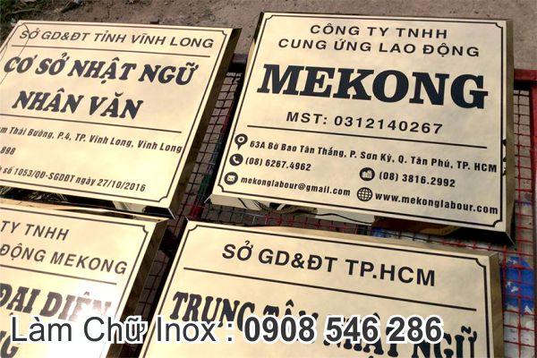 Bảng Tên Công Ty Inox Vàng Gương